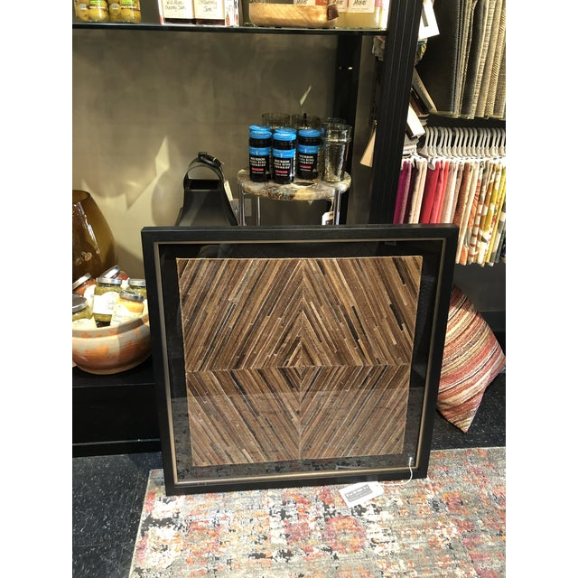 This amazing creative art piece made from strips of cowhide and stitched leather. A fabulous abstract of Tan, gold, browns...