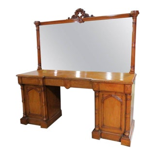 Gothic Style Oak Vanity With Mirror For Sale