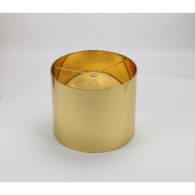 Lampshade Designs Small High Gloss Gold Drum Lampshade For Sale - Image 4 of 9