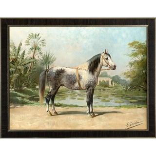 Sandlewood Horse by Eerelman Framed in Italian Wood Vener Moulding For Sale