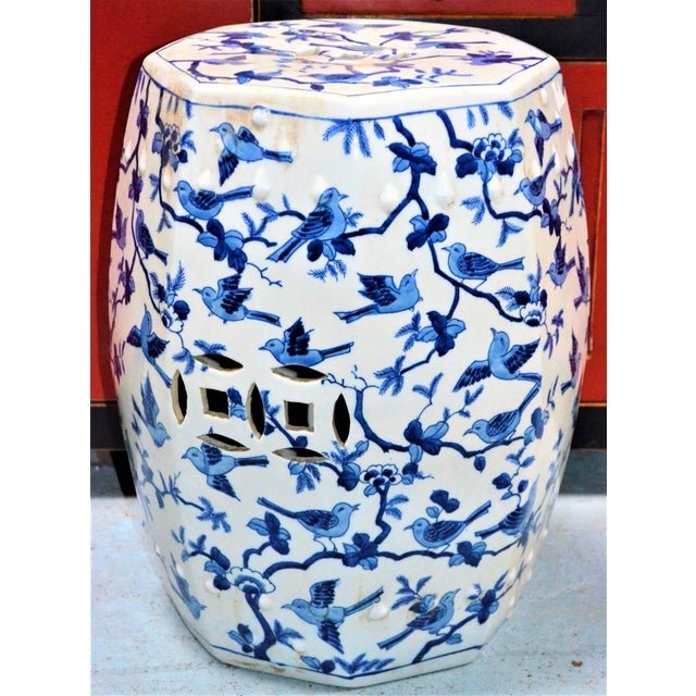 Chinoiserie Blue and White Porcelain Garden Stool With Birds For Sale - Image 4 of 5