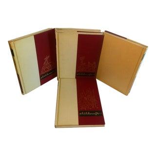 Vintage Red & Cream Leatherette Children's Books - Set of 5