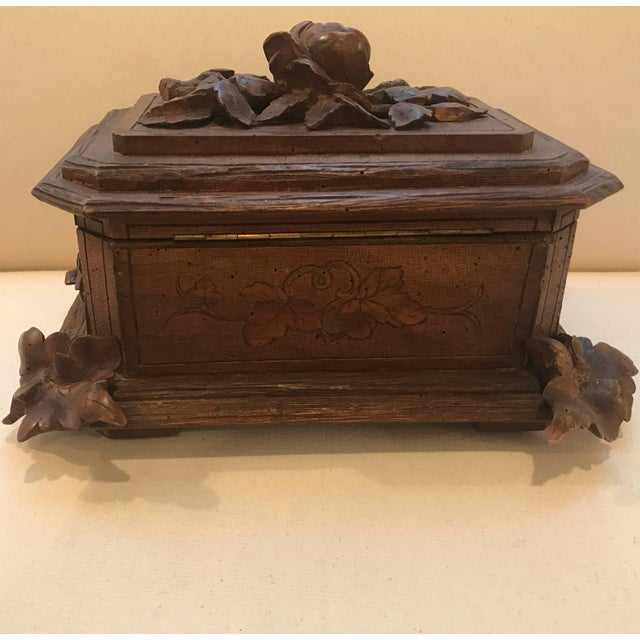 Walnut Black Forest Hinged Box For Sale - Image 7 of 11