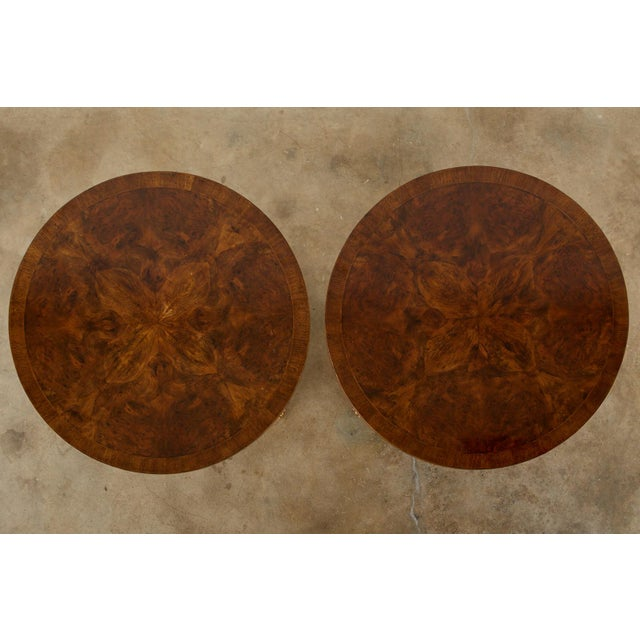 Early 20th Century Pair of English Regency Style Burl Wood Library or Center Tables For Sale - Image 5 of 13