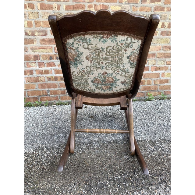 Vintage Victorian Style Upholstered Folding Rocking Chair For Sale In Chicago - Image 6 of 10