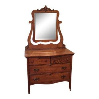 1930s American Classical Solid Oak Dresser W/ Mirror For Sale