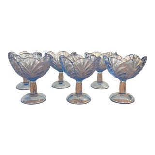 1990s Traditional L E Smith Glass Company Ice Blue Glass Dessert Bowls -Set of 6 For Sale
