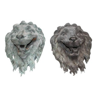 French Bronze Lion's Masks - a Pair For Sale