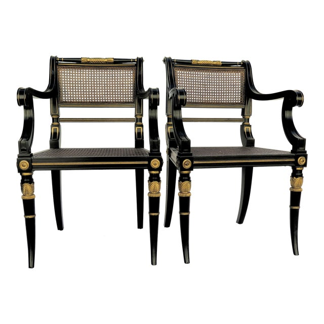 Baker Mahogany Caned Chairs - a Pair - Image 1 of 7