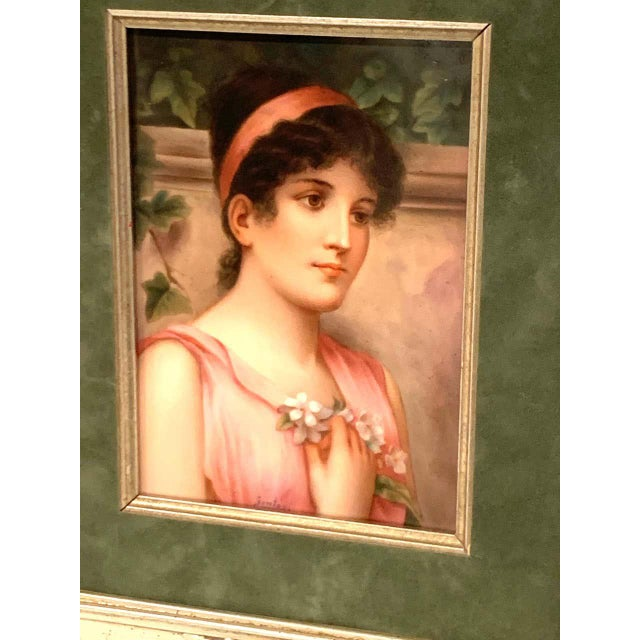 Early 20th Century Fine German Painting on Porcelain of a Garden Muse For Sale - Image 5 of 13