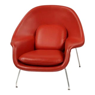 Red Leather Womb Chair For Sale