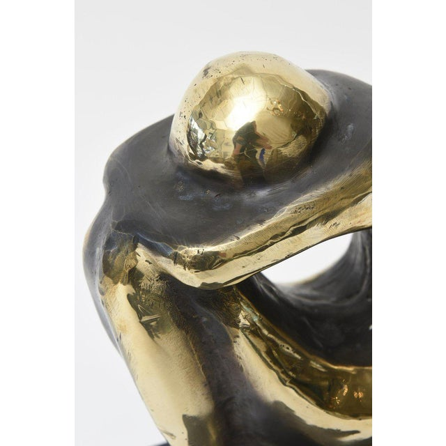 Gold Polished Figurative Brass and Granite Seated Sculpture/Desk Accessory For Sale - Image 8 of 11