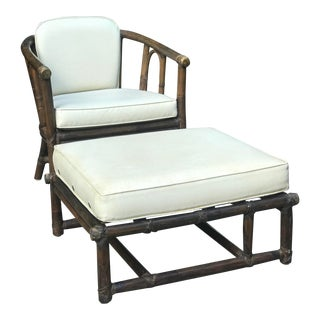 Vintage McGuire Arm Chair and Ottoman For Sale
