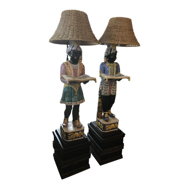 Vintage Blackamoor Floor Lamps - A Pair - Image 1 of 6