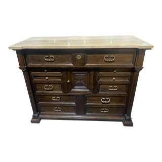 Drexel Heritage Granite Top Dresser With Brass Pull Handles For Sale