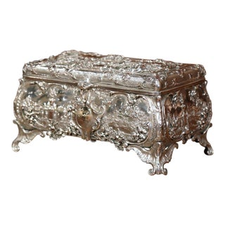 19th Century English Silver on Copper Ornate Repousse Jewelry Casket For Sale