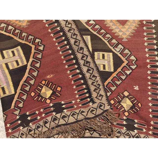 Large Brown Turkish Kilim Runner For Sale - Image 10 of 11
