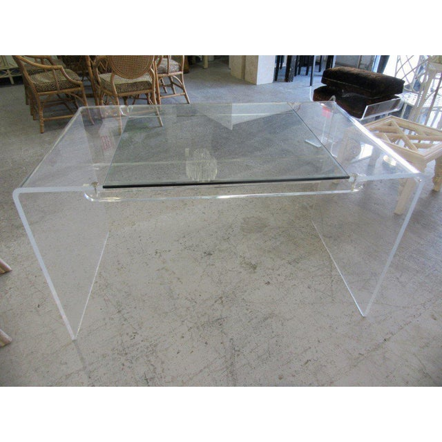 Lucite & Glass Lucite Waterfall Desk - Image 4 of 8