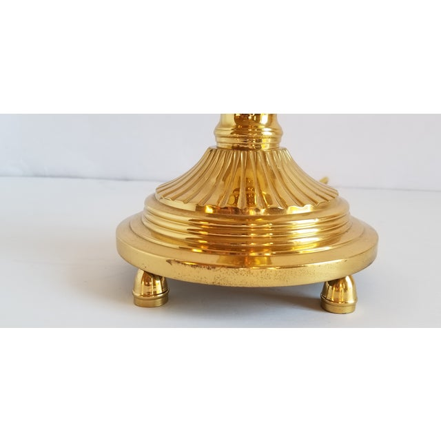 Vintage Polished Brass Buffet Lamp For Sale - Image 10 of 13