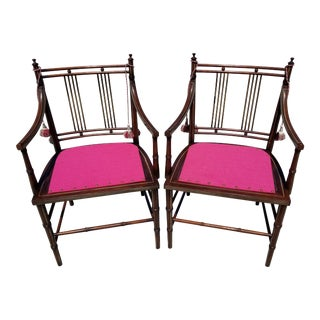Regency Style Mahogany Faux Bamboo Armchairs - a Pair For Sale