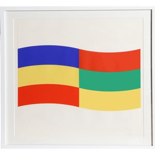 "Charles Hinman, ""Blue, Green, and Yellow Flag"", Framed Silkscreen For Sale"