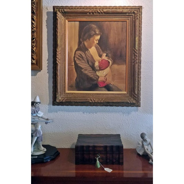 Mid 20th Century Hiyashi NoBuo Oil on Canvas - Nursing Mother For Sale - Image 5 of 7
