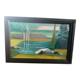 Mid 20th Century Cubist Landscape by Williams, Framed For Sale