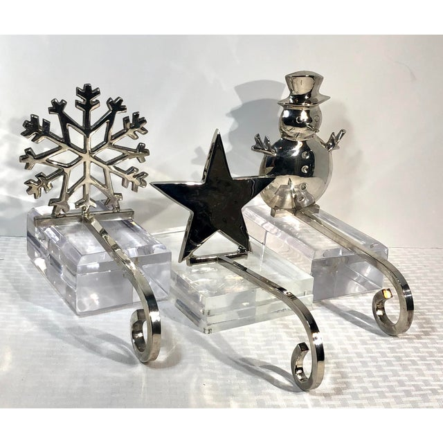 Vintage Stocking Holders Silver Christmas Snowman, Star, Snowflake Hooks - Set of 3 For Sale - Image 9 of 12