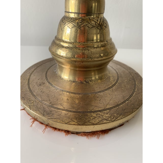 Brass Brass Moroccan Tray Lamps - a Pair For Sale - Image 8 of 13