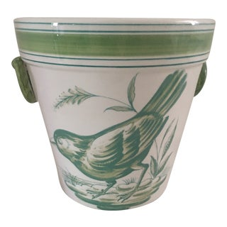 1980s Hand-Painted Portugal Bird Cachepot For Sale