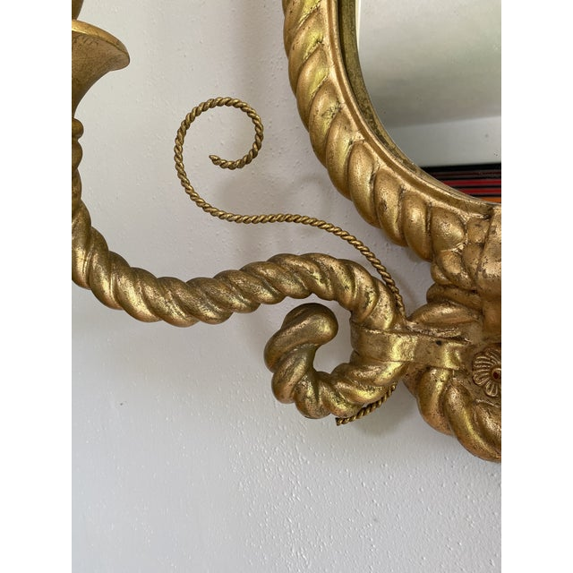 Custom Tromp L'oeil Gold Rope Mirror Sconce Light Fixtures - a Pair For Sale In Portland, OR - Image 6 of 7