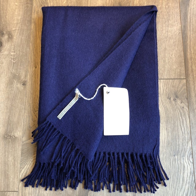 Alicia Adams classic alpaca throw in admirals blue . Made in Peru. This luxurious woven throws are made from 100% baby...