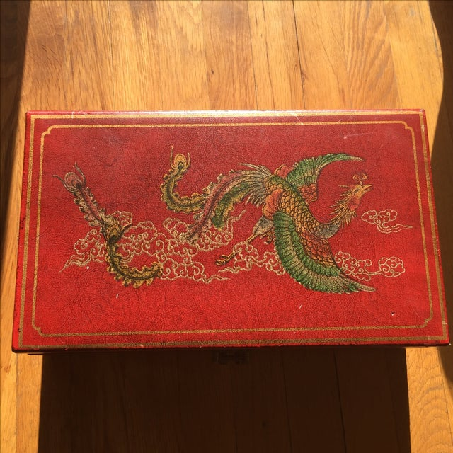 Mid-Century Chinese Red Trinket Box For Sale - Image 9 of 11
