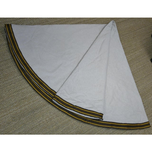 """Table Cloth 96"""" Diam Lined and Interlined Using Linen from Rogers and Goffigon and Trim from Samuel and Sons. Would fit..."""