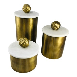 Brass Canisters With Marble Lids - Set of 3 For Sale