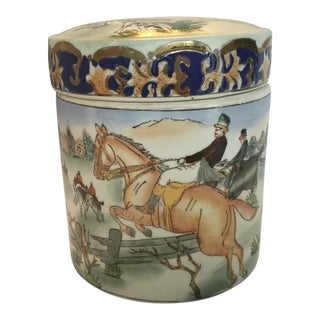 1970s Traditional Hunting Scene Ceramic Painted Cannister