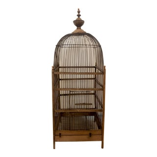 Antique Wood and Wirework Birdcage For Sale