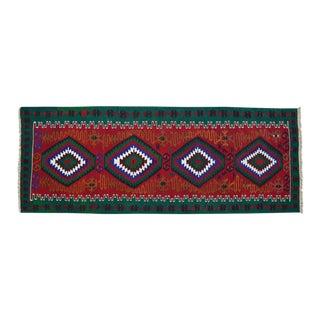 "Vintage Turkish Handmade Kilim Runner Rug Hallway Decor - 3'2"" X 8'4"" For Sale"