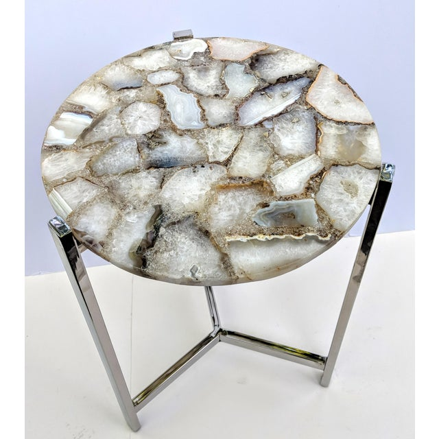 Jonathan Adler Inspired Organic White Agate Accent Table With Chrome Legs For Sale - Image 12 of 13