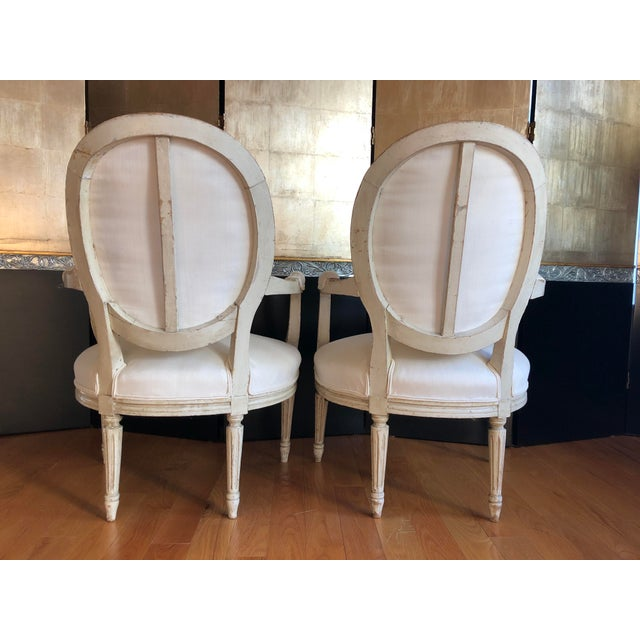 Antique French Louis XVI Fauteuil Arm Chairs - a Pair For Sale - Image 4 of 10