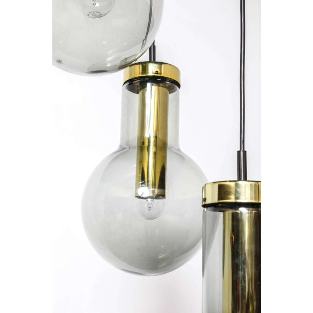 1970s Smoked Three Glass Raak Chandelier,1970s For Sale - Image 5 of 9