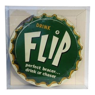 """Vintage Enameled """"Flip"""" Drink Pop Top Diner Sign For Sale"""