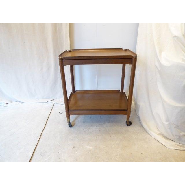 Brown Vintage Modern John Stuart Hardwood Side Table For Sale - Image 8 of 8