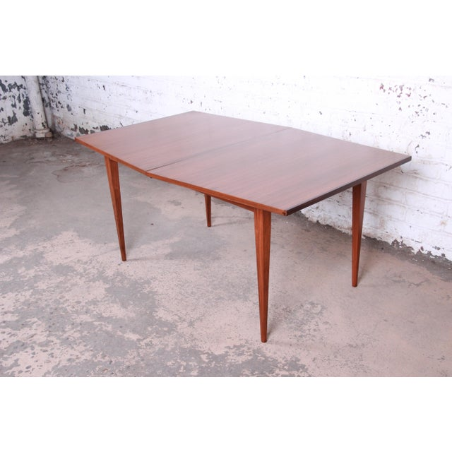 Kipp Stewart for Calvin American Design Foundation Walnut and Rosewood Boat-Shaped Extension Dining Table For Sale - Image 9 of 13