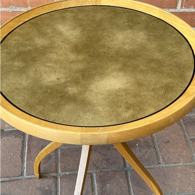 Wood 1960s Kipp Stewart for Drexel Round Leathertop End Table For Sale - Image 7 of 12