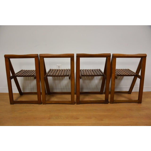 Brown Walnut Dining Table and Self Storing Chairs - Set of 5 For Sale - Image 8 of 11