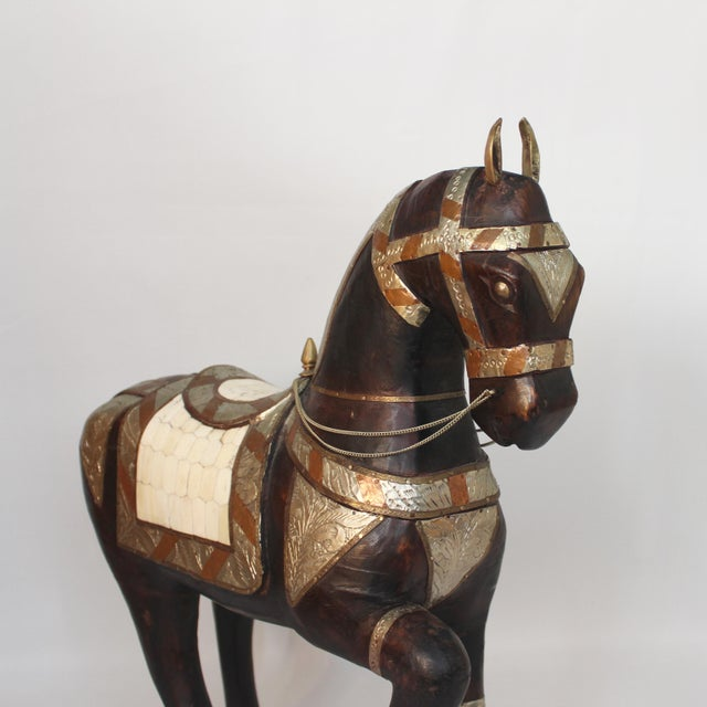 Figurative Vintage Mid-Century Tang Style Wood and Metal Horse Sculpture For Sale - Image 3 of 13