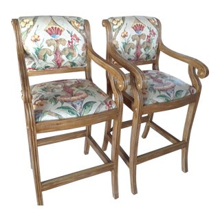 Wood & Fabric Bar/Counter Chairs - A Pair For Sale