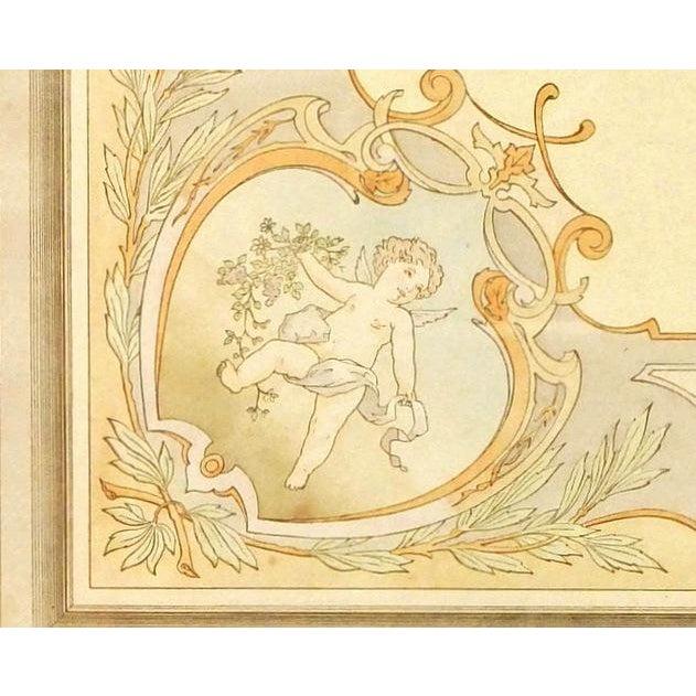 French antique hand stenciled pochoir of a decorative ceiling motif featuring a cherub from Decoration Moderne au Pochoir,...