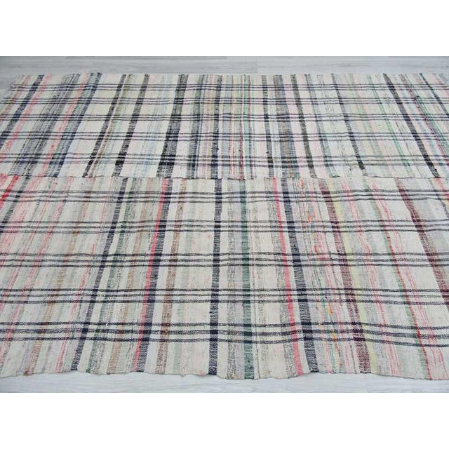 "Vintage Turkish Handwoven Rag Rug - 6'5"" x 9'11"" For Sale - Image 4 of 6"
